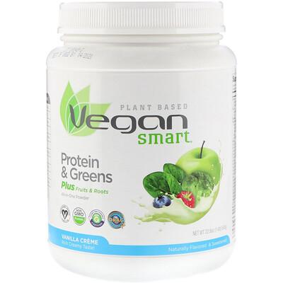 """Белок и зелень VeganSmart, Порошок """"Все в одном"""", Ванильный крем, 22,8 унц. (645 г)"""