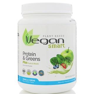Vegan Smart, VeganSmart Protein & Greens, All-In-One Powder, Vanilla Creme, 22.8 oz (645 g)
