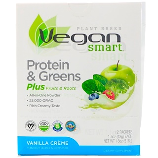 VeganSmart, Protein & Greens All-In-One Powder, Vanilla Creme, 12 Packets, 1.5 oz (43 g) Each