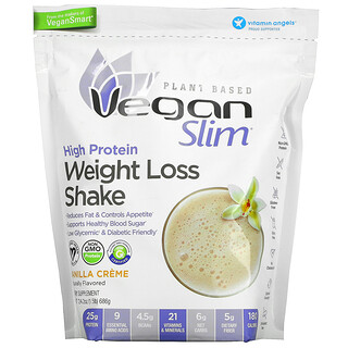 VeganSmart, Vegan Slim, коктейль для снижения веса с высоким содержанием протеина, со вкусом ванильного крема, 686г (1,5фунта)