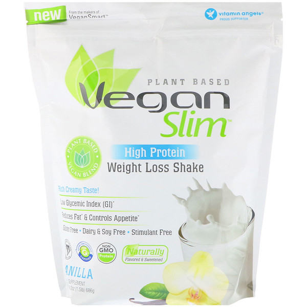 VeganSmart, Vegan Slim, High Protein, Weight Loss Shake, Vanilla, 1.5 lbs (686 g)
