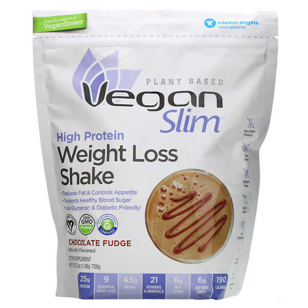 VeganSmart, Vegan Slim, High Protein Weight Loss Shake, Chocolate Fudge, 1.6 lb (728 g)