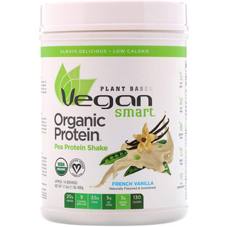 VeganSmart, Organic Pea Protein Shake, French Vanilla, 1.08 lbs (490 g)