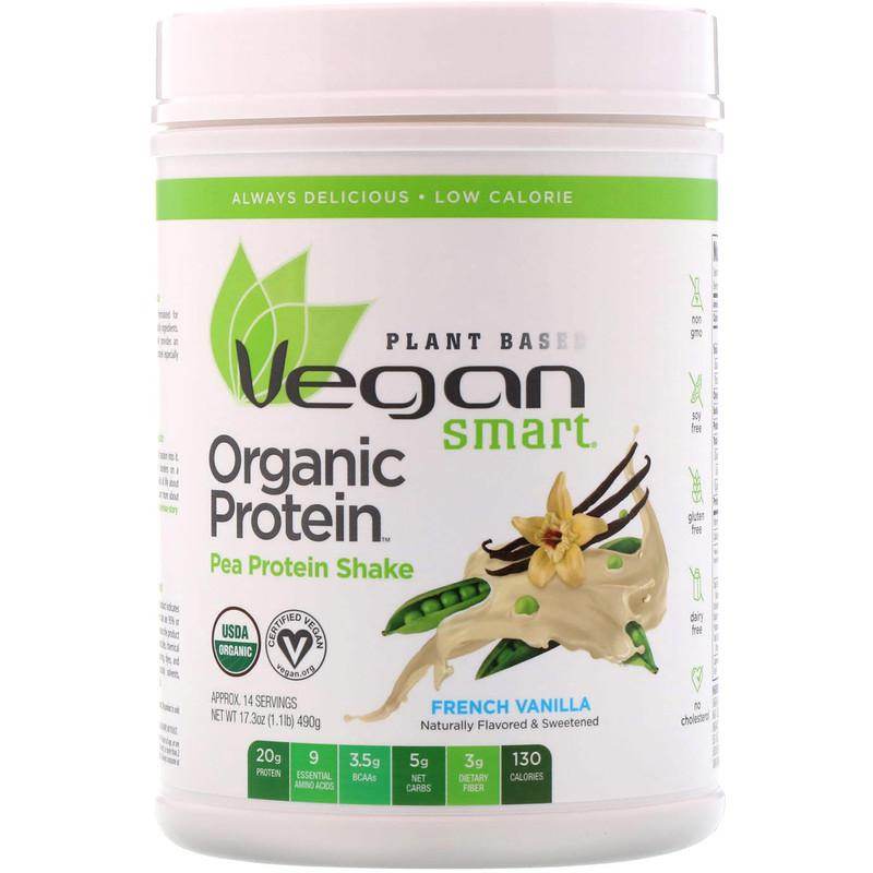 Organic Pea Protein Shake, French Vanilla, 1.08 lbs (490 g)