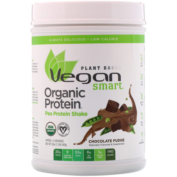 VeganSmart, Organic Pea Protein Shake, Chocolate Fudge, 1.25 lbs (560 g) (Discontinued Item)