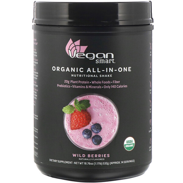 VeganSmart, Organic All-In-One Nutritional Shake, Wild Berries, 18.76 oz (532 g) (Discontinued Item)