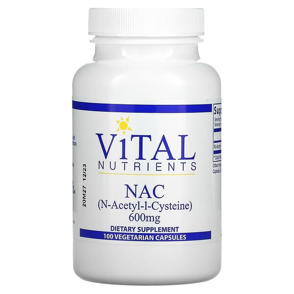 Vital Nutrients, NAC, 600 mg, 100 Vegetarian Capsules