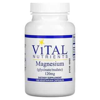 Vital Nutrients, マグネシウム、120mg、ベジカプセル100粒