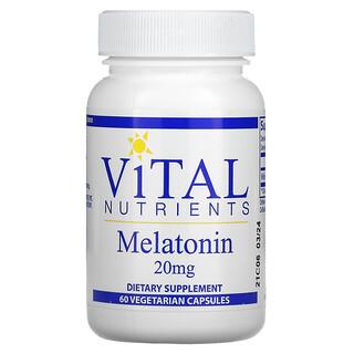 Vital Nutrients, Melatonin, 20 mg, 60 Vegetarian Capsules