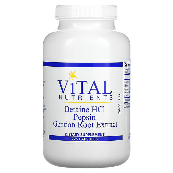 Betaine HCl, Pepsin, Gentian Root Extract, 225 Capsules