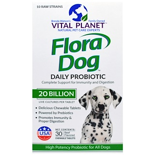 Vital Planet, Flora Dog, Ежедневный Пробиотик, Со Вкусом Говядины,  20 биллионов, 30 жевательных таблеток
