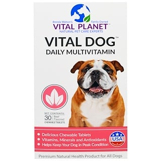 Vital Planet, Vital Dog Daily Multivitamin, Beef Flavored, 30 Chewable Tablets