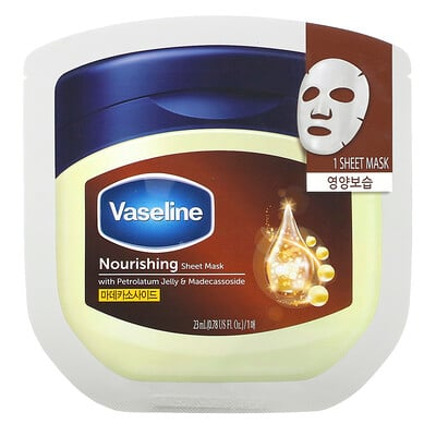 Купить Vaseline Nourishing Sheet Mask with Petrolatum Jelly & Madecassoside, 1 Sheet, 0.78 fl oz (23 ml)