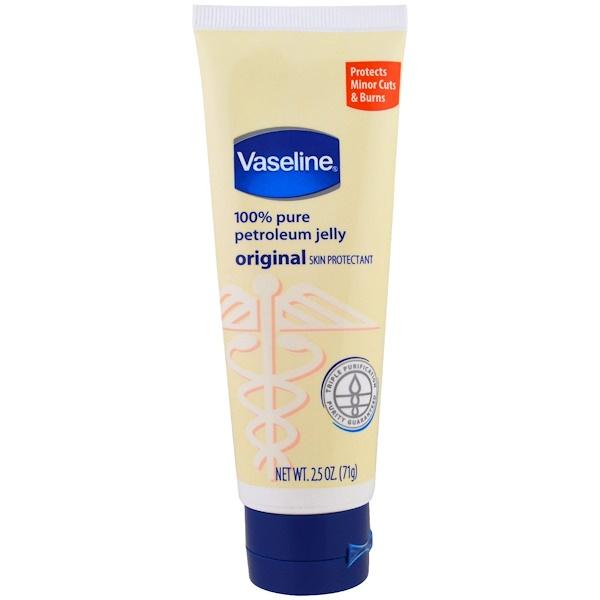 Vaseline, 100% Pure Petroleum Jelly, Original Skin Protectant, 2.5 oz (71 g)