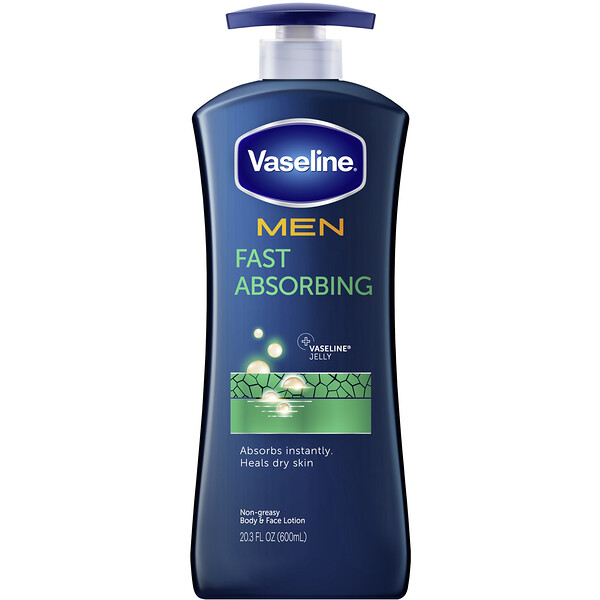 Vaseline, Men, Fast Absorbing Body & Face Lotion, 20.3 fl oz (600 ml)
