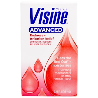 Visine, Advanced, Sterile, Lubricant, Redness Reliever Eye Drops, 0.28 fl oz (8 ml)