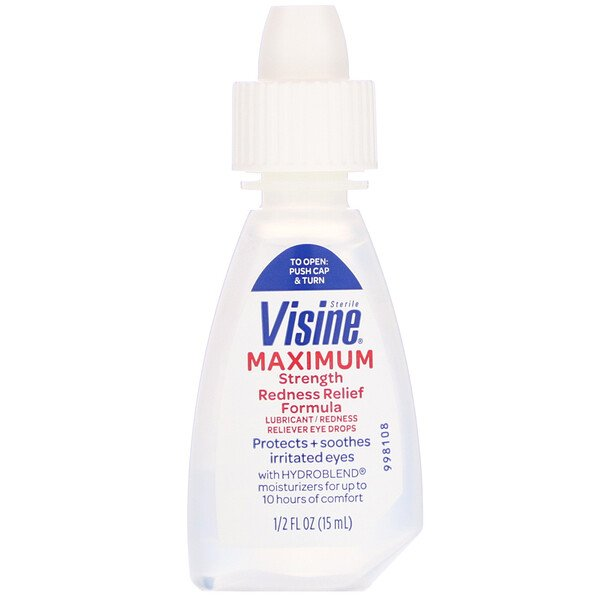 Visine, Lubricant, Redness Reliever Eye Drops, Maximum Strength, Sterile, 1/2 fl oz (15 ml)