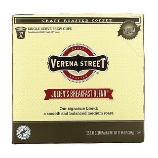 Verena Street, Julien's Breakfast Blend, Craft Roasted Coffee, Medium Roast, 32 Single-Serve Brew Cups, 0.37 oz (10.5 g) Each