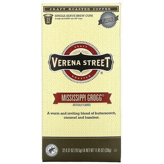 Verena Street, Mississippi Grogg, Flavored, Craft Roasted Coffee, 32 Single-Serve Brew Cups, 0.37 oz (10.5 g) Each