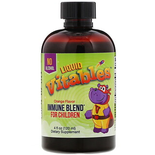 Vitables, Liquid Immune Blend for Children, No Alcohol, Orange Flavor, 4 fl oz (120 ml)