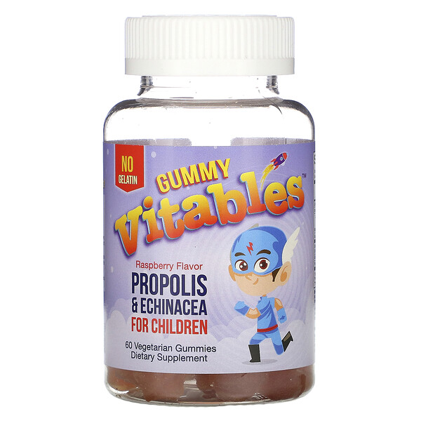 Gummy Propolis & Echinacea for Children, No Gelatin, Raspberry Flavor, 60 Vegetarian Gummies