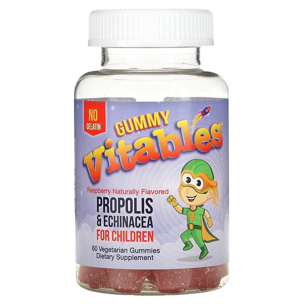 Gummy Propolis & Echinacea for Children, Free Gelatin, Raspberry, 60 Vegetarian Gummies
