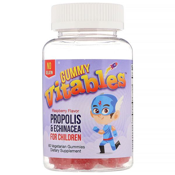 Vitables, Gummy Propolis & Echinacea for Children, No Gelatin, Raspberry Flavor, 60 Vegetarian Gummies