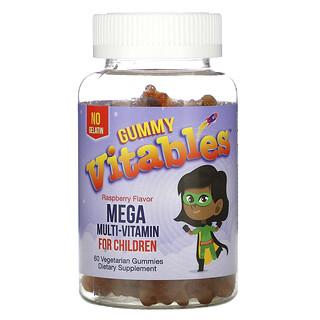 Vitables, Gummy Mega Multivitamin for Children, Multivitamine für Kinder, ohne Gelatine, Himbeergeschmack, 60vegetarische Fruchtgummis