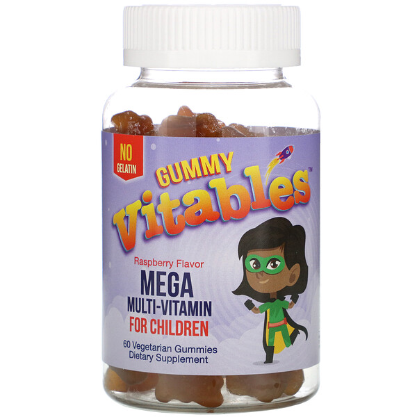 Vitables, Gummy Mega Multivitamin for Children, No Gelatin, Raspberry Flavor, 60 Vegetarian Gummies