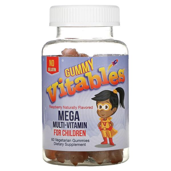жевательные мегамультивитамины для детей, без желатина, малиновый вкус, 60вегетарианских жевательных мармеладок