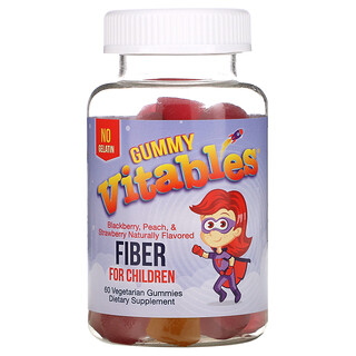 Vitables, Gummy Fiber for Children, Gelatin-Free, Assorted Fruit Flavors, 60 Vegetarian Gummies