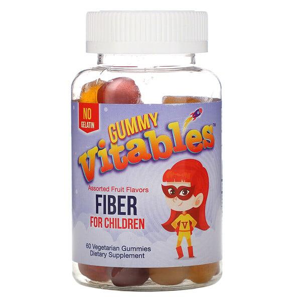 बच्चों के लिए गमी फ़ाइबर, जिलेटिन नहीं, चुनिंदा फ़लों का स्वाद, 60 शाकाहारी गमीज़