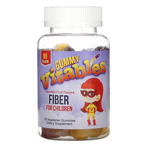 Gummy Fiber For Children, No Gelatin, Assorted Fruit Flavors, 60 Vegetarian Gummies