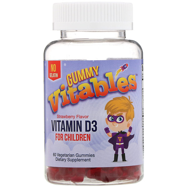 Vitables, Gummy Vitamin D3 for Children, No Gelatin, Strawberry Flavor, 60 Vegetarian Gummies
