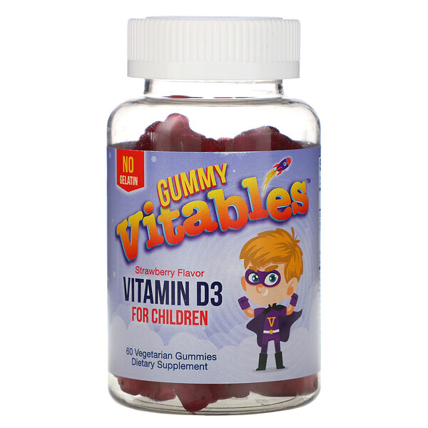 Gummy Vitamin D3 for Children, Strawberry Flavor, 60 Vegetarian Gummies