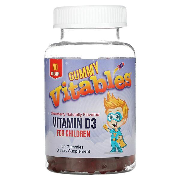 Gummy Vitamin D3 For Children, Gelatin Free, Strawberry, 60 Vegetarian Gummies
