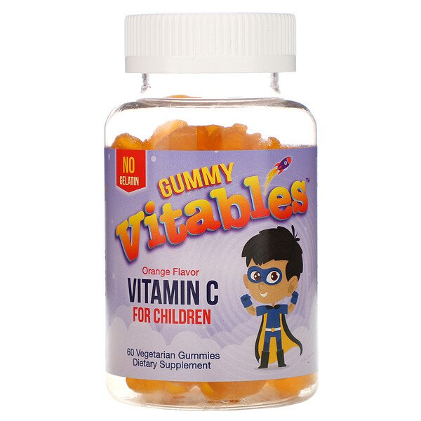 Vitables, Gommes de vitamineC pour enfants, Arôme orange, 60gommes végétariennes