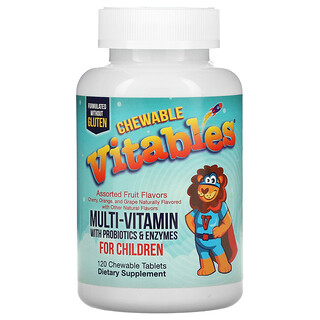 Vitables, Chewable Multi-Vitamins with Probiotics & Enzymes for Children, Assorted Fruit Flavors, 120 Chewable Tablets