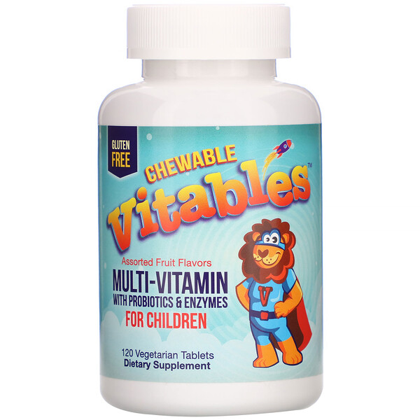 Chewable Multi-Vitamins with Probiotics & Enzymes for Children, Assorted Fruit Flavors, 120 Vegetarian Tablets