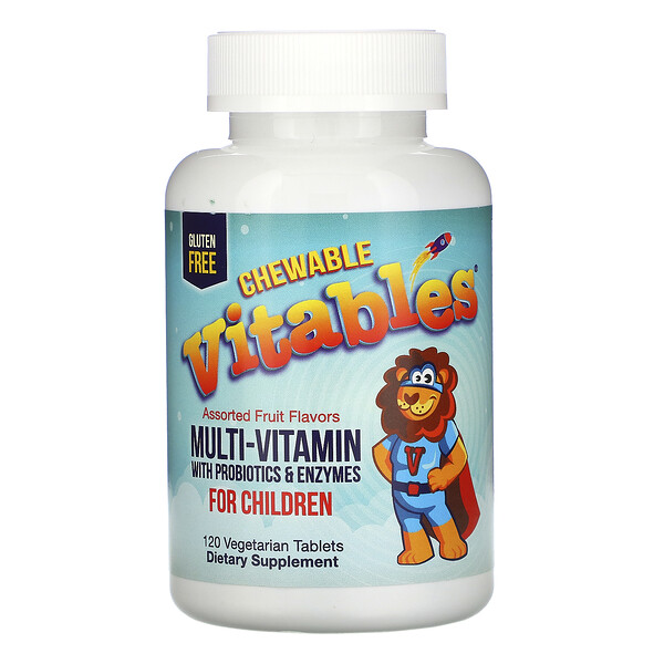 Vitables, Chewable Multi-Vitamins with Probiotics & Enzymes for Children, Assorted Fruit Flavors, 120 Vegetarian Tablets