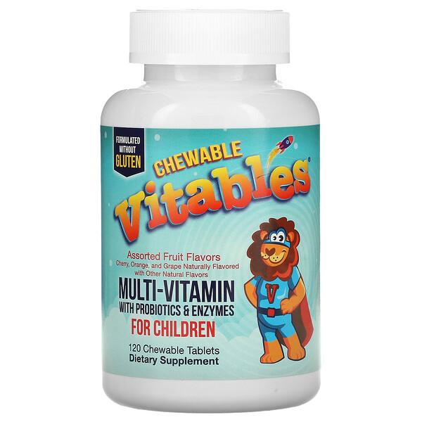 Vitables, فيتامينات متعددة قابلة للمضغ معززة بالبروبيوتيك والإنزيمات للأطفال، نكهات فاكهة متنوعة، 120 قرصًا نباتيًا