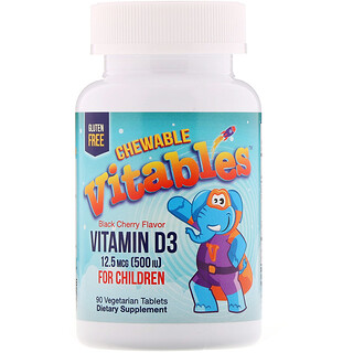 Vitables, Vitamin D3 Chewables for Children, Black Cherry, 12 5 mcg (500  IU), 90 Vegetarian Tablets