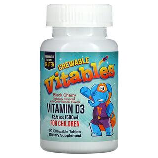 Vitables, 儿童维生素 D3 咀嚼片,黑樱桃味,12.5 微克(500 国际单位),90 片咀嚼片