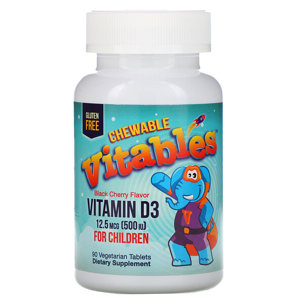 Vitamin D3 Chewable for Children, Black Cherry Flavor, 12.5 mcg (500 IU), 90 Vegetarian Tablets