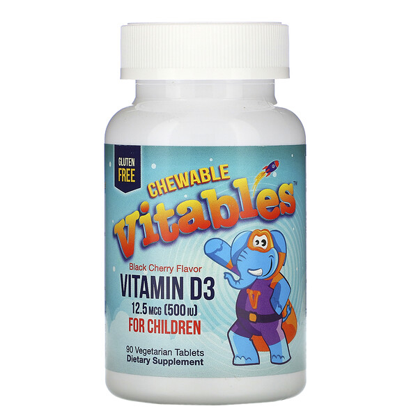 Vitables, Vitamin D3 Chewable for Children, Black Cherry Flavor, 12.5 mcg (500 IU), 90 Vegetarian Tablets
