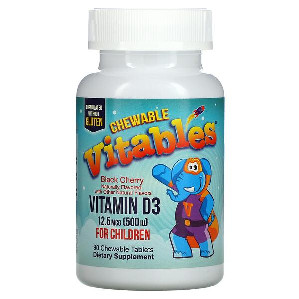 Vitables, Vitamin D3 Chewable for Children, Black Cherry, 12.5 mcg (500 IU), 90 Chewable Tablets