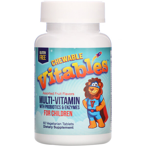 Chewable Multi-Vitamins with Probiotics & Enzymes for Children, Assorted Fruit Flavors, 60 Vegetarian Tablets