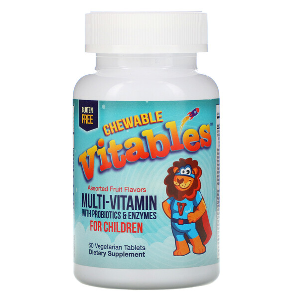 Vitables, Chewable Multi-Vitamins with Probiotics & Enzymes for Children, Assorted Fruit Flavors, 60 Vegetarian Tablets