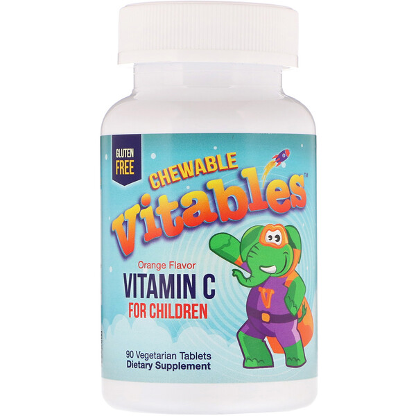 Vitables, Vitamin C Chewables for Children, Orange Flavor, 90 Vegetarian Tablets