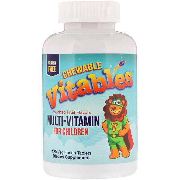 Vitables, Multi-Vitamin for Children, Assorted Fruit Flavors, 180 Vegetarian Tablets